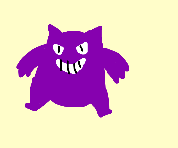 Purple Ghost Pokemon with weird @$$ face