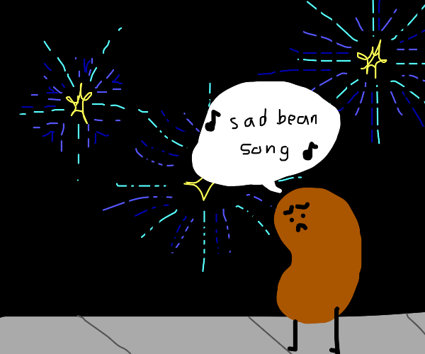 Bean singing a sad song during fireworks
