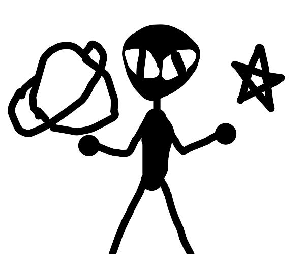 fancy b/w silhouette of alien planet