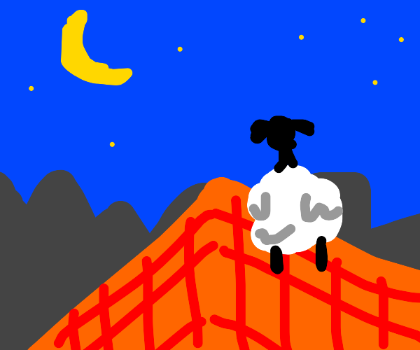A sheep on a roof at night