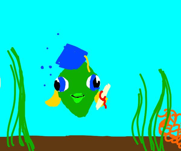 a green fish graduated