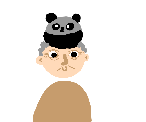 an old man with a panda hat