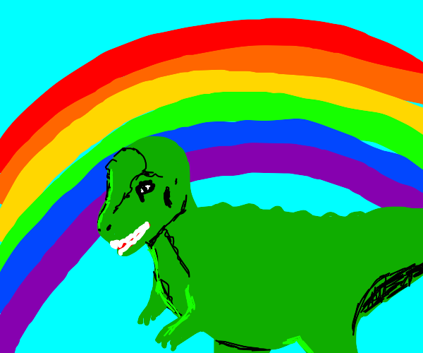 dinosaur in front of a rainbow