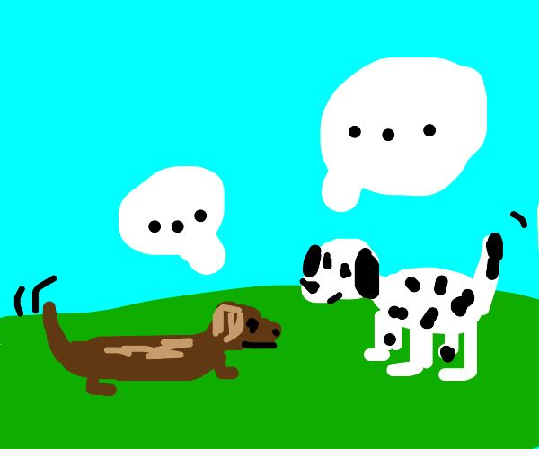a dog and a dog talking