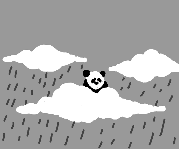 Red eyed panda on clouds and it's raining