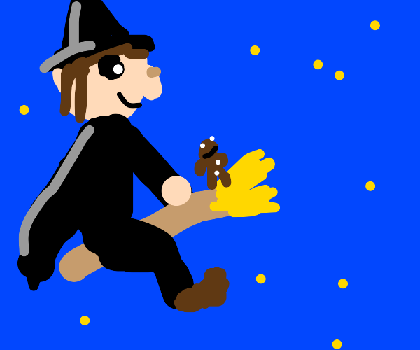A witch with a gingerbread man on her broom
