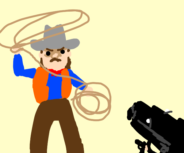 Cowboy w/ lasso VS a guy w/& gun