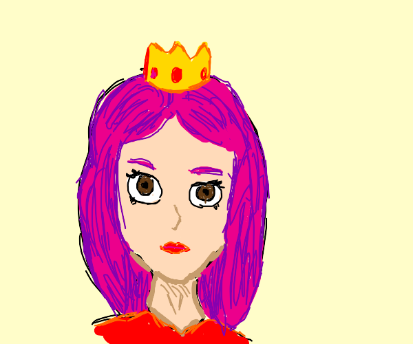 Girl with pink hair wearing a crown