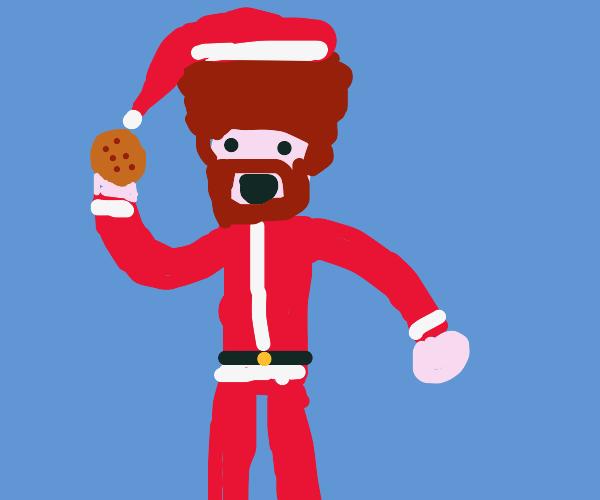 Bob Ross Santa eats a cookie