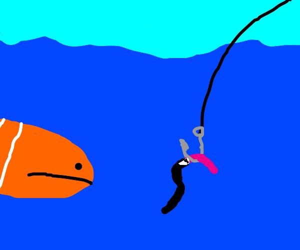 Fancy Bait: worm, on hook, in a tux.