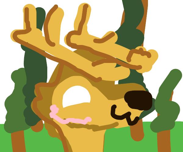 Kawaii deer in a forest