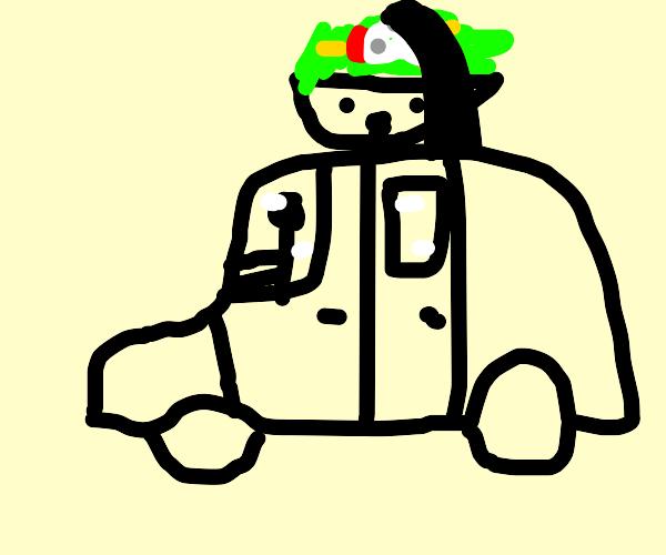 Man drives car with salad