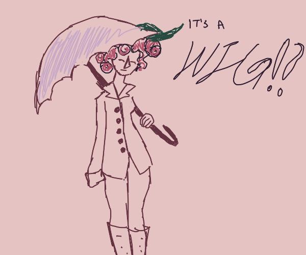 Stylish lady wears a pink wig.
