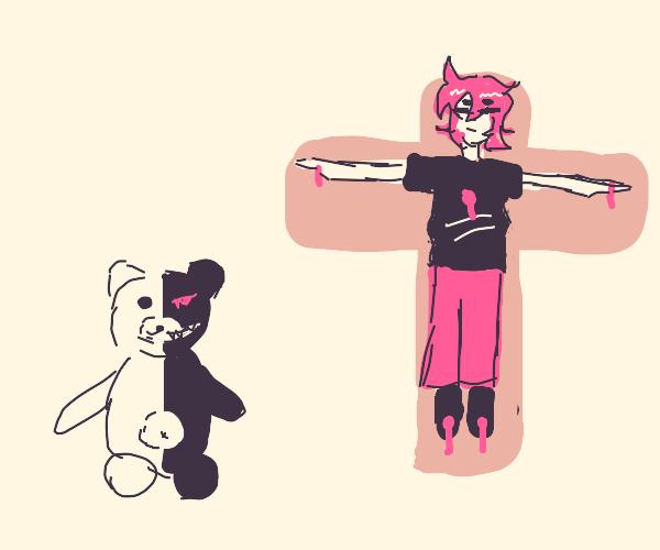 monokuma hung someone on cross like jesus was
