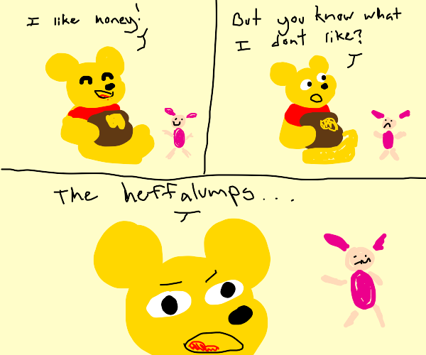 Pooh Bear eating honey