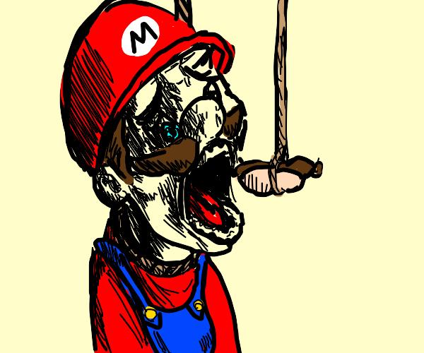 Mario eats a hotdog that hung itself