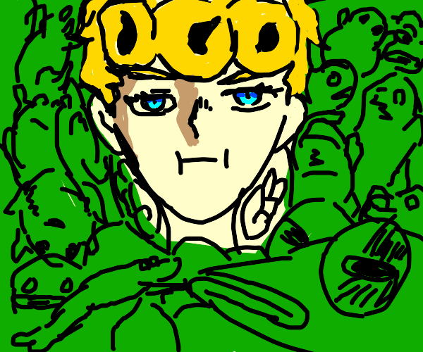 GioGio w/ a lot of frogs