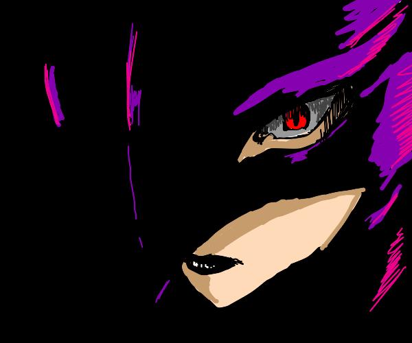 Goth girl wearing hero mask