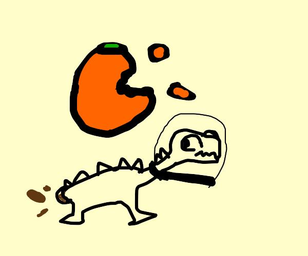 space stegasaurus exits giant orange