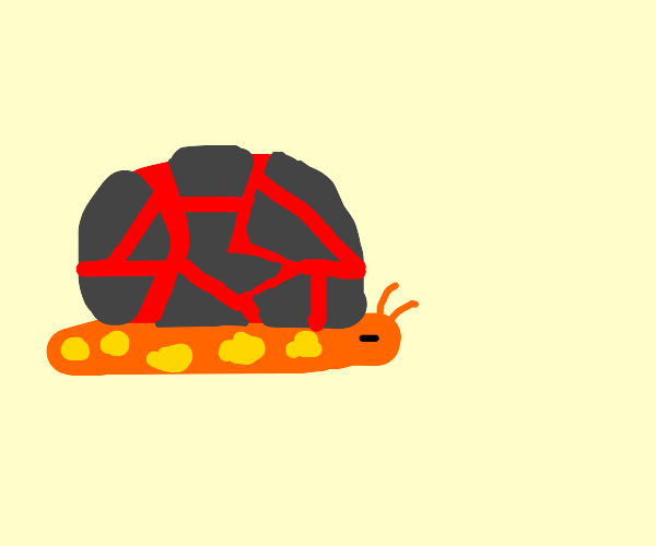 Lava snail with molten rock shell