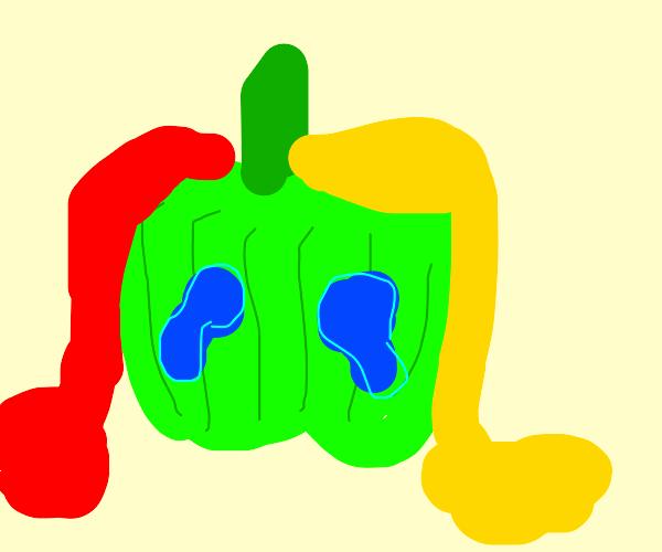 Mustard & ketchup on green pepper.