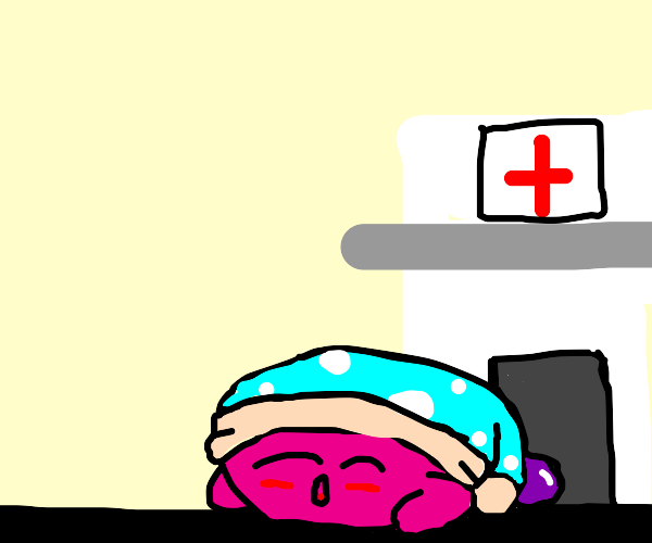 kirby sleeps in front of a hospital