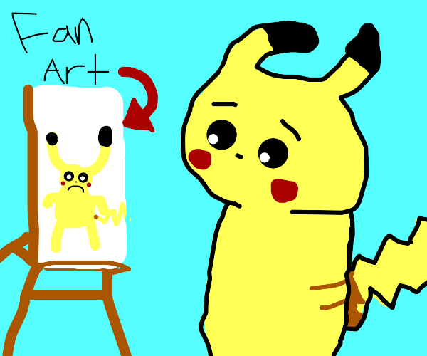 Pikachu sees someone's wierd fanart