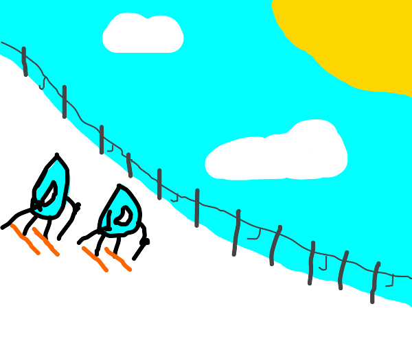 Two drawception logos skiing downhill