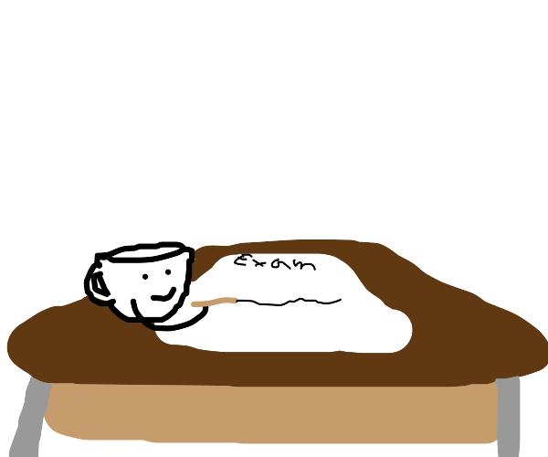 Teacup sits an exam