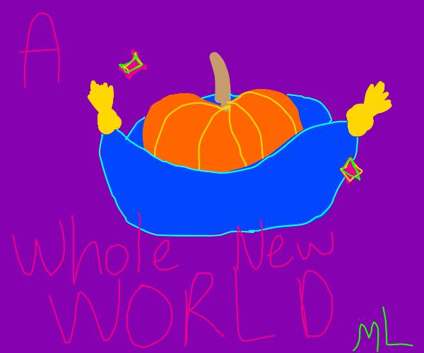 pumpkin flying on a magic carpet