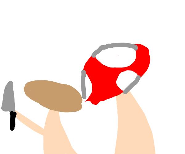 Mushroom with a knife