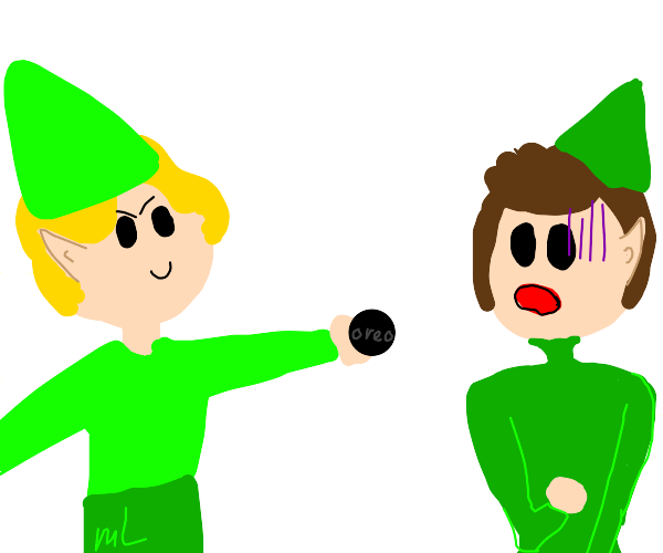 Elves scare each other with oreos