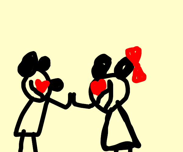 Mickey and Minnie are in love