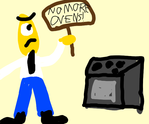 Guy  protesting against ovens