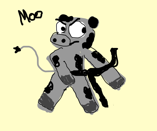 A cute cow with karate's black belt