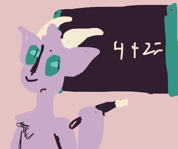 Goatman explaining maths on a blackboard