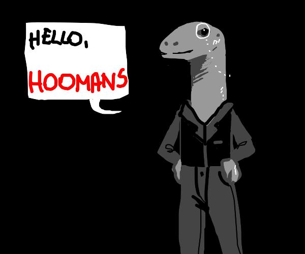 Lizard man talks to humanity