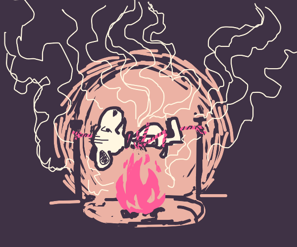 Poor Snoopy gets roasted alive