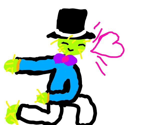 Dapper Cactus w/ a top hat and purple bow