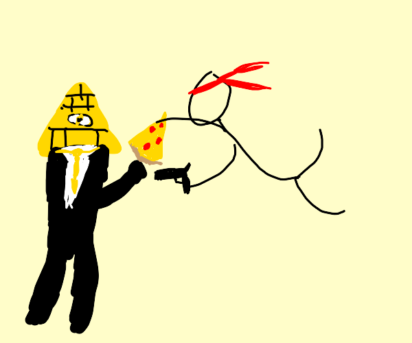 HumanBillCipher holding pizza stickman fight