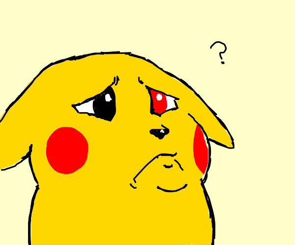 concerned Pikachu has a red eye