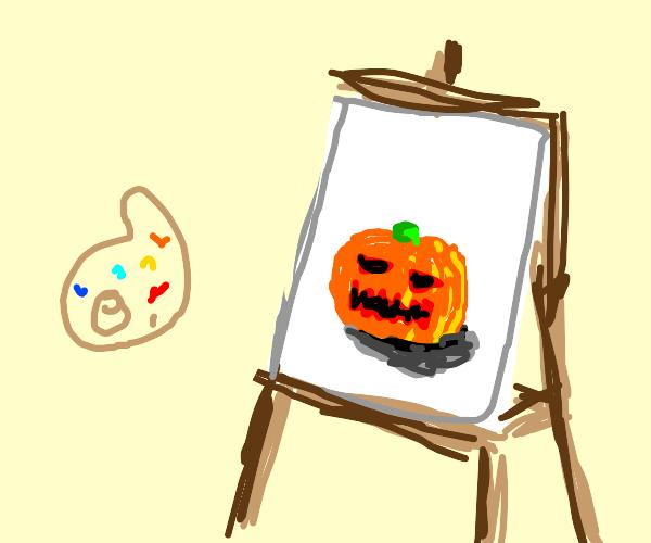 A Jack o Lantern Bob Ross painting
