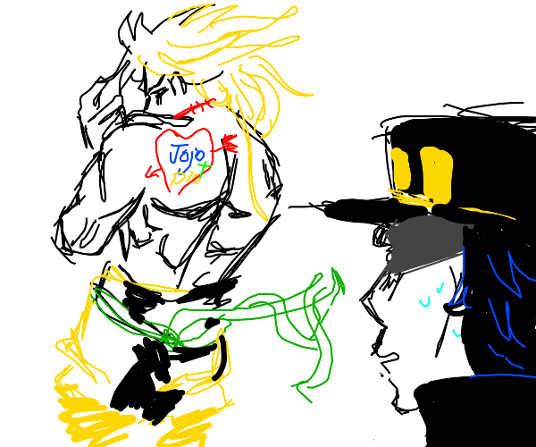 Dio showing jojo+dio tattoo on his back to jo
