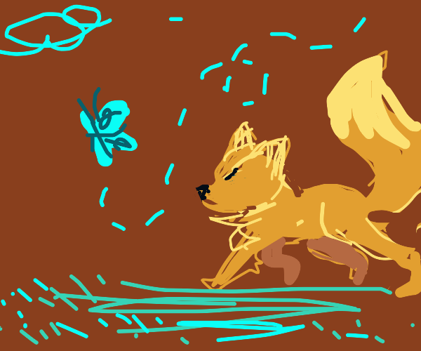 Fox chasing a butterfly