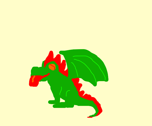 baby green dragon with a red mawhawk