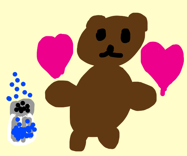 bear in love with salt shaker(blue salt)