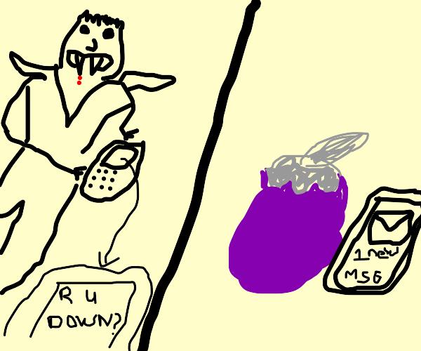 Vampire texting Eggplant