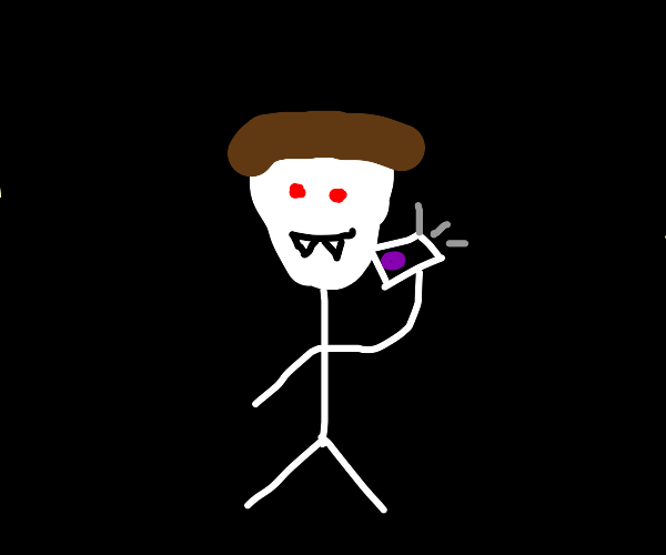 Vampire talking with grape on phone