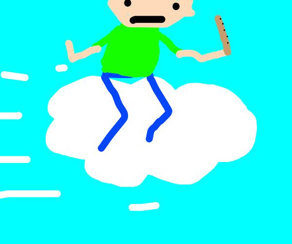 Baldi (Baldi's Basics) on a cloud