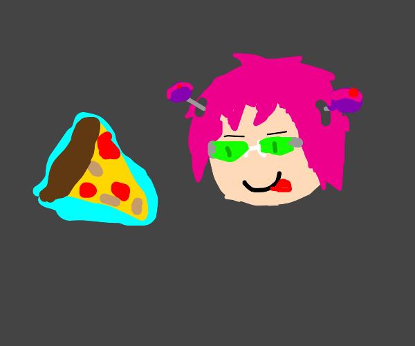 Saiki K using telephathy to eat pizza